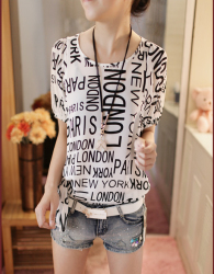 KAOS WANITA PARIS LONDON MURAH