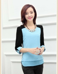 BLOUSE WANITA WARNA BIRU TRAND 2015 FASHION