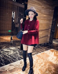 COAT MERAH MAROON KOREA SIMPLE 2015 CANTIK