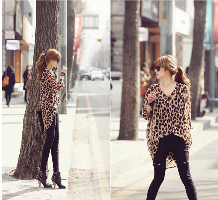 BLOUSE LENGAN PANJANG LEOPARD SIMPLE FASHION