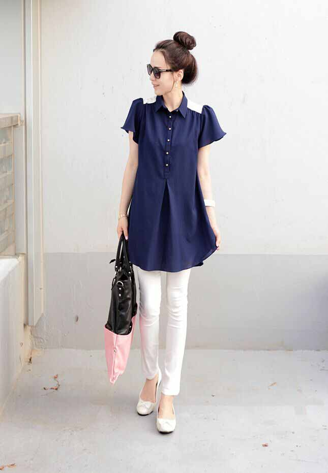 JUAL BLOUSE BIRU MODIS KOREA IMPORT 2016