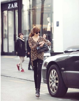 BLOUSE LENGAN PANJANG LEOPARD SIMPLE