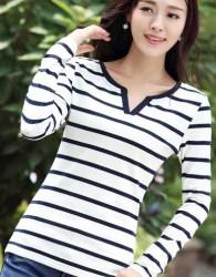 kaos-wanita-stripes-putih-simple