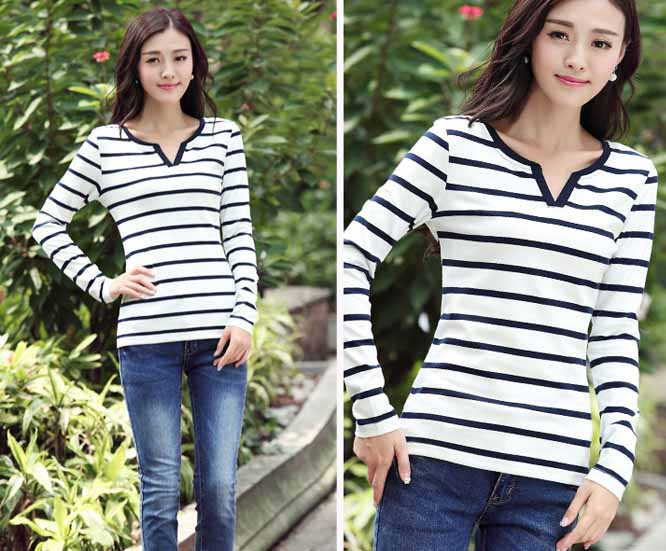 kaos-wanita-stripes-putih-simple-korea