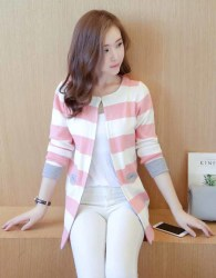 CARDIGAN RAJUT LENGAN PANJANG PINK SIMPLE KOREA