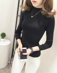 TURTLENECK WARNA HITAM SIMPLE CANTIK TERBARU 2017