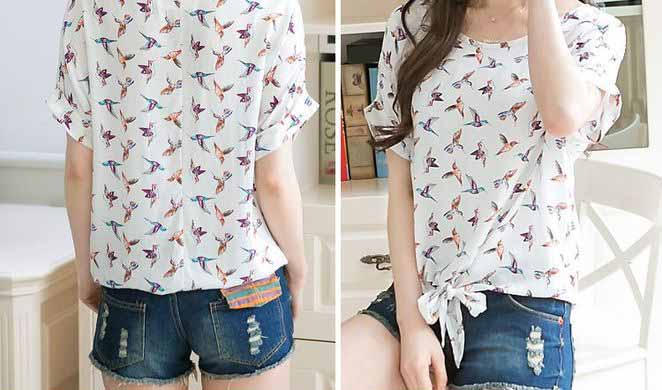 JUAL KAOS MOTIF BURUNG CANTIK SIMPLE IMPORT