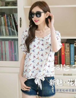 KAOS MOTIF BURUNG CANTIK SIMPLE IMPORT