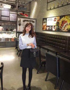 BLOUSE WANITA KOREA KOMBINASI RAJUT 2018
